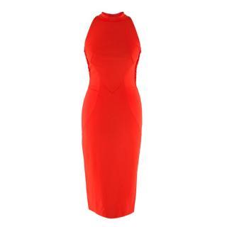 Zuhair Murad Red Mesh Back Sleeveless Dress