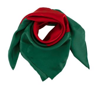 Gucci Red & Green GG Silk Jacquard 90 Scarf