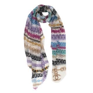 Chanel Multicolour Chain Print 140 Cashmere Scarf