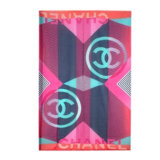 Chanel Navy & Pink Silk Blend Striped CC Pareo