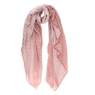 Gucci Pink Silk & Wool GG Monogram Shawl 140