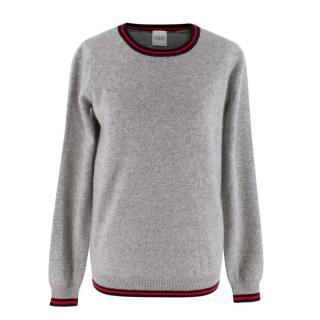 Madeleine Thompson Light Grey Multicoloured Fondor Cashmere Sweater