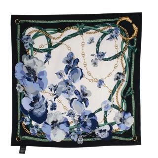 Gucci Supreme Oshibana Flowers Chain Print Square Silk 90 Scarf