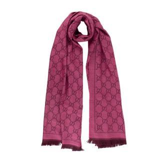 Gucci Raspberry Pink GG-Jacquard Wool Scarf