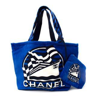 Chanel La Pausa Blue Terry Cotton Beach Tote Bag