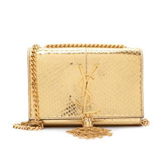 Saint Laurent Small Gold Laminated Python Monogram Kate Tassel Bag
