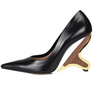 Marni Sculpted Heel Black Leather Pumps