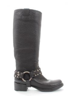 Miu Miu Black Pebbled Leather Studded Buckle Knee Boots