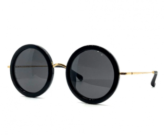 Linda Farrow x The Row Black Round Gold Plated Sunglasses