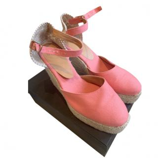 Castaner Pink Canvas Wedge Espadrilles