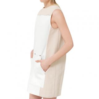 Chloe Sleeveless mini dress in colour-block stretch denim canvas