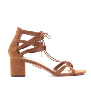 Aquazzura Brown Suede Cut-Out Lace-Up Sandals