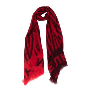 Chanel Cashmere Red & Bordeaux Striped Scarf