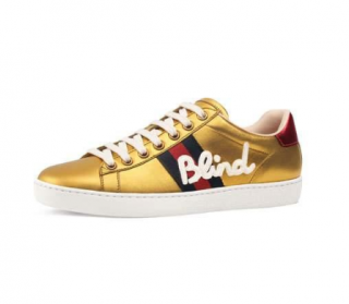 Gucci New Ace Blind For Love Metallic Trainer