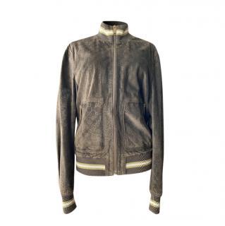 Gucci Brown Supreme Monogram Suede Jacket