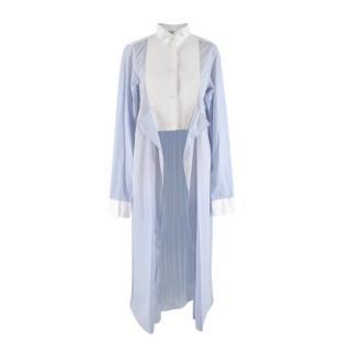 Loewe Blue Pinstripe High-Low Shirt Dress