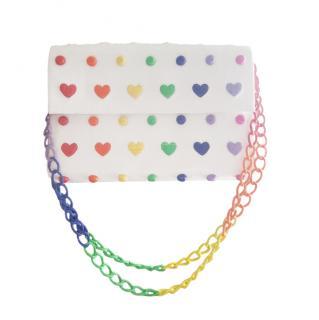 Nancy Gonzalez Rainbow Heart Applique Crocodile Flap Bag