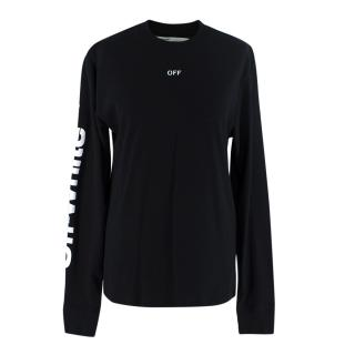 Off White Blue Fire Skull Long Sleeve Graphic Tee