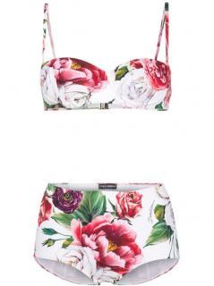 Dolce & Gabbana White Floral Print Balconette Bikini