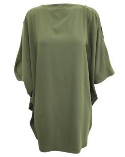 Maison Margiela Khaki Button Sleeve Shift Dress