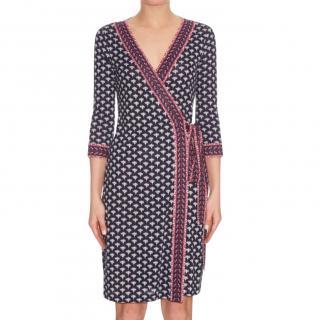 DVF Blue & Pink Silk Jersey Wrap Dress