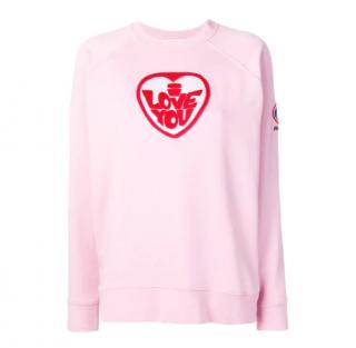 Bella Freud Pink Embroidered Love Sweatshirt
