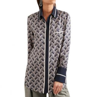 Victoria, Victoria Beckham Printed Silk-twill Shirt In Navy