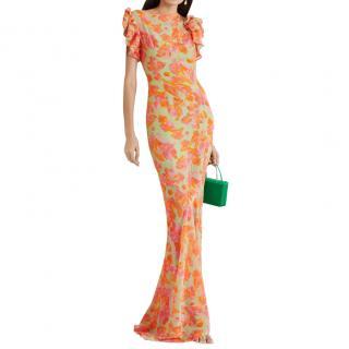 De La Vali Bougainvilla Floral Georgette Gown