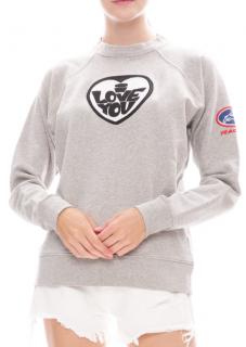 Bella Freud Grey Embroidered Love Sweatshirt