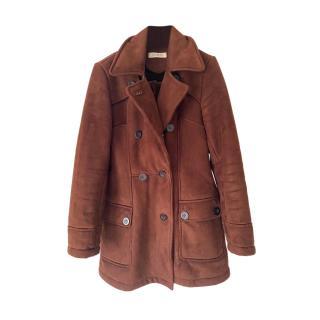 Balmain Burgundy Shearling Pea Coat