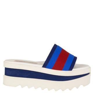 Stella McCartney Blue, Red & White Flatform Slides
