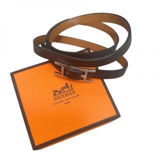 Hermes Black Behapi Double Tour Bracelet