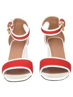 Marni Red & White Block Heel Sandals