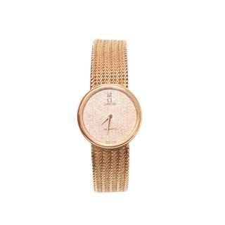 Omega 9k Rose Gold Quartz Bracelet Watch 20mm