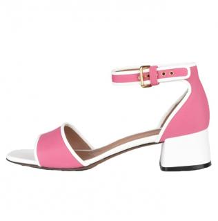 Marni Pink & White Neoprene Sandals