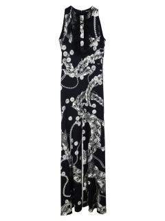 Just Cavalli Black Printed Frilled Sleeveless Dress