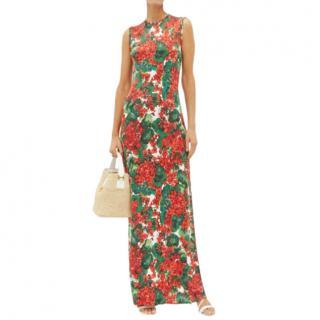 Dolce & Gabbana Red Multi Geranium-print Jersey Maxi Dress