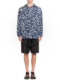 Marni Men's Nylon Flutter Print Blue Bomber Jacket