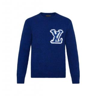 Louis Vuitton Men's S Blue Intarsia Logo Knit Jumper