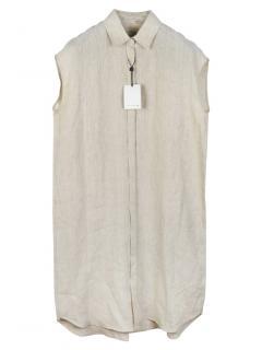 Mackintosh Beige Linen Sleeveless Shirt Dress