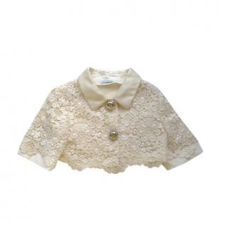 Dolce & Gabbana Kids 9-10Y Cream Floral Lace Crop Jacket