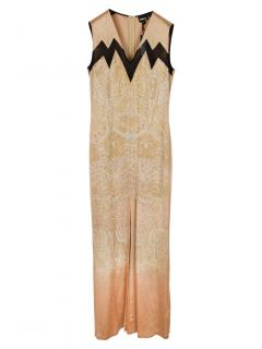 Just Cavalli Camel Embellished Sleeveless Gown