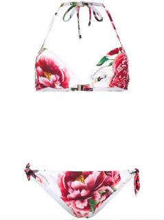 Dolce & Gabbana Floral Print Halterneck Bikini