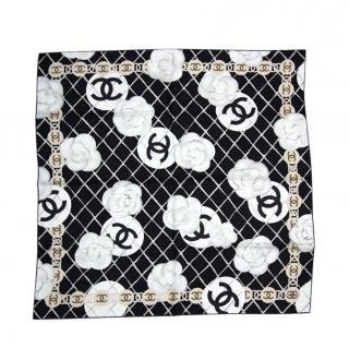 Chanel Camellia Print Silk Scarf 90