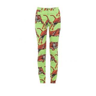 Gucci Acid Green Tiger Print Jeans