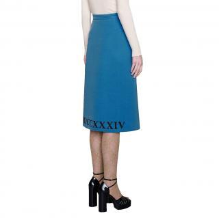 Gucci Blue Mdccxxxiv Print Midi Skirt