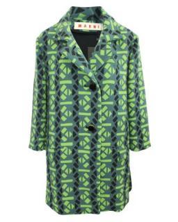 Marni Green Abstract Print Wool Coat