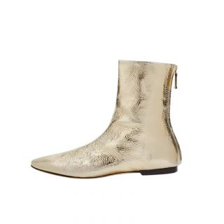 Victoria Beckham gold leather flat ankle boots