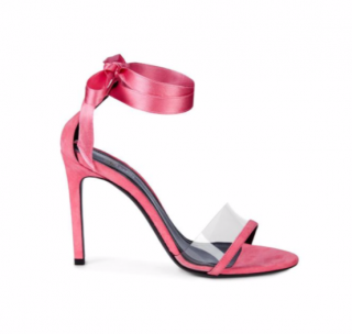 Calvin Klein 205W39NYC Pink Suede Ankle-wrap Camri Sandals