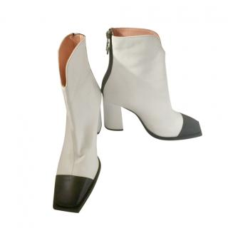 MSGM black and white leather Tronchetto ankle boots
